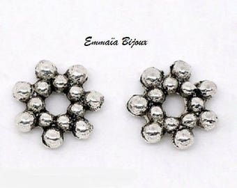 20 beads rondelle silver-plated 6.5 mm