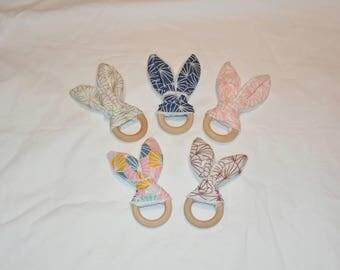 Teething ring rattle bunny ears