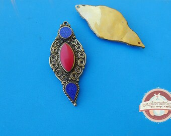 Blue and Red ethnic tibet nepal 25x55mm bronze and stone pendant