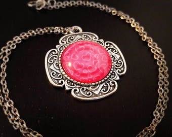 Antique necklace full of love hearts pink and white 20mm glass cabochon, silver chain