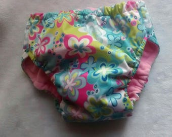 Pull-on diaper, washable waterproof pocket, flowered night