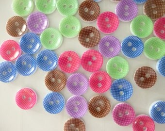 10 round 12 mm multicolor resin, 2 hole buttons