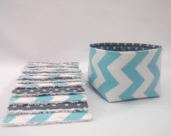 12 washable wipes and basket matching reversible chevron and blue polka dots
