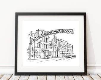 High Street   Columbus, Ohio   Original artwork   Architectural drawing   Street view   Pen and Ink by hand   8x10 Wall Print