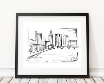 Columbus Ohio Skyline Sketch | Original artwork | Architectural drawing | Pen and Ink by hand | 8x10 Wall Print