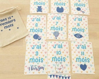 Set of 12 cards from 1 to 12 months baby step card
