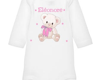 Personalized with name Teddy bear baby Bodysuit