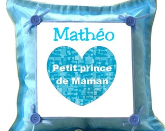 Blue cushion prince MOM personalized with name