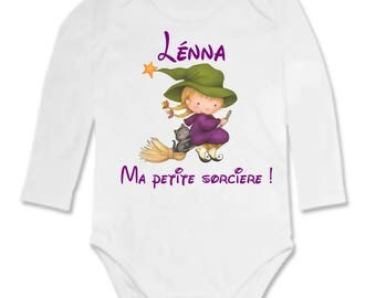 Bodysuit little witch personalized with name