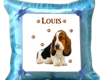 Blue cushion Basset personalized with name