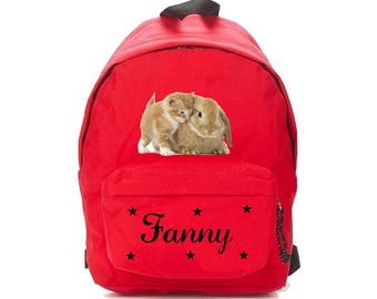 bag has red cat and rabbit personalized with name
