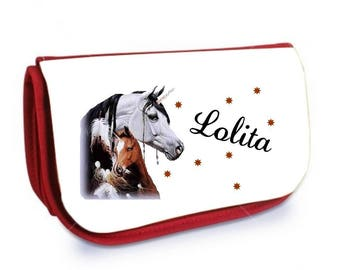 Cosmetic case red /crayons Unicorn personalized with name