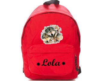 Red wolves backpack personalized with name