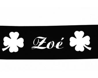 Baby headbands black clover personalized with name