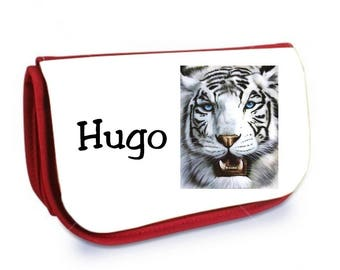Red White Tiger /crayons make-up case personalized with name