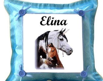 Blue Unicorn pillow personalized with name