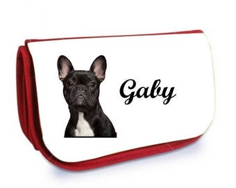 Red french Bouldog /crayons make-up case personalized with name
