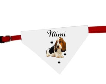 Collar bandana for dog basset hound personalized with name