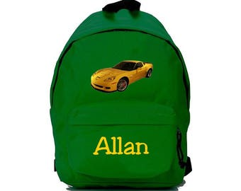 Green backpack stickers personalized with name