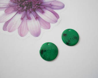 x 2 sequins enamelled green and black