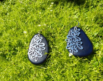 Silver print flowers and cobalt blue Tagua earrings