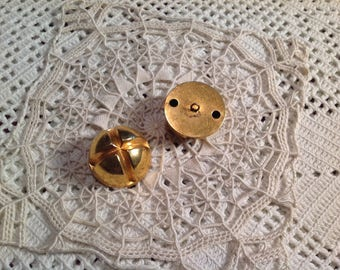 Two large metal buttons gold vintage