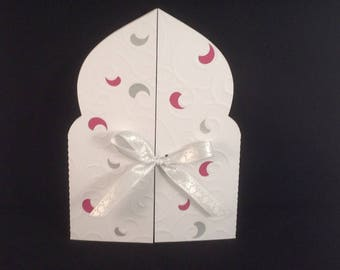 White, silver and raspberry (Moroccan) oriental wedding card
