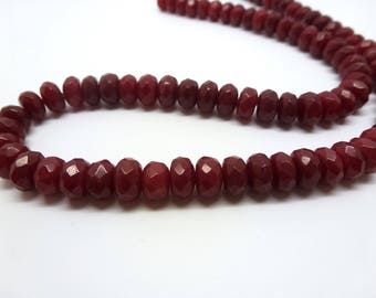 8 beads in dark red Agate 8 * 5mm round flattened faceted (8SPA04)