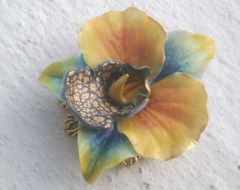 Orchid - cold porcelain brooch