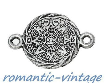 5 gorgeous connectors spirit Inca, antiqued silver carved decorated 16 * 24 mm