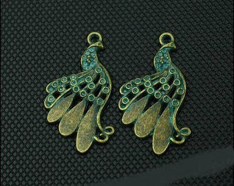 5 pendants, beautiful Peacock green tone of grey and bronze 18 * 34 mm