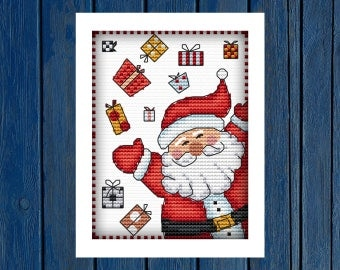 Santa Claus with gifts - cross stitch pattern PDF | Christmas cross stitch | New year's cross stitch | Marry Christmas |