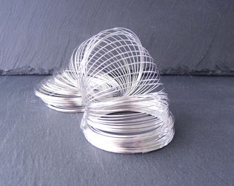 10 turns of memory steel wire, nickel free, for making bracelets 55 x 0, 6 mm - silver color (BR0106)