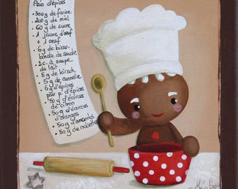 "GINGERBREAD man - Acrylic painting on canvas: ""the good ingredients"""