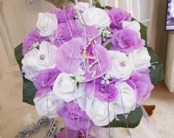 artificial wedding bouquet parma and white orchids and roses for wedding