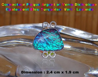 Glass silver plated connector dichroic Opalescent-Turquoise-green - Lavender 2.4 cm - # 4