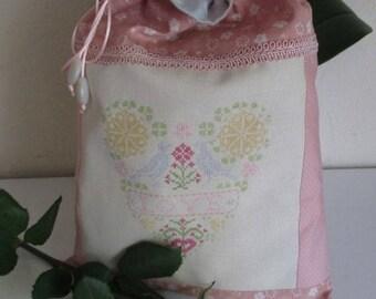Lingerie bag * Love... * clutch bag fabric cross stitch Pocket sewing kit