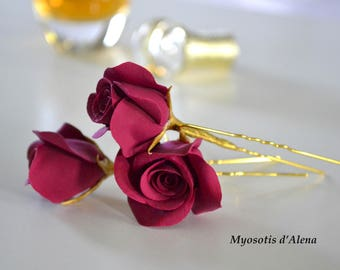 Red roses for hair