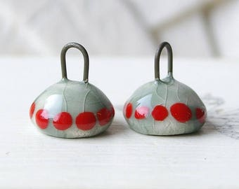 Ceramic Cup pendants, green Celadon, polka dot red X 2