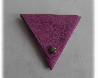 Triangle purple leather wallet