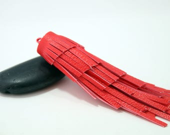 Red - large tassel effect leather 12cm