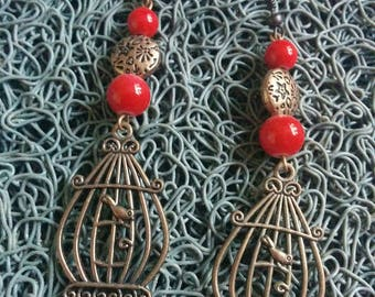 copper and red bird earrings