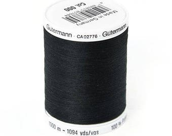 Black Gutermann 1000 m 100% polyester thread