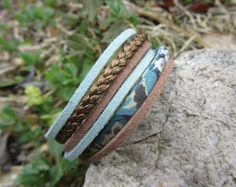Multi-row bracelet cuff Suede, braided leather and liberty, sky blue and taupe soft tones cuff