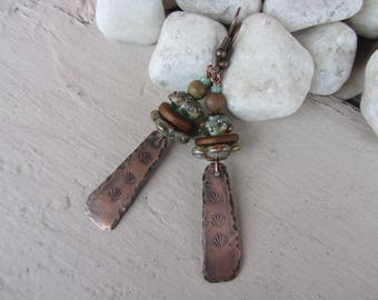Ethnic earrings, rectangle charm in hammered copper, glass, ceramic rondelles and Jasper stone, copper and celadon Green