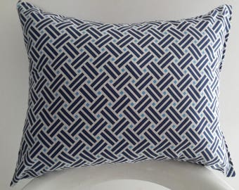 Cushion cover 45 x 35 cm, Navy/sky blue and white geometric patterns