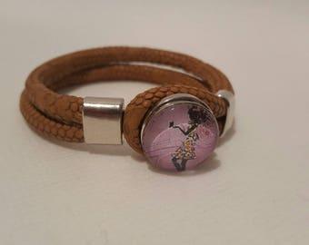 Chunk snap button leather bracelet
