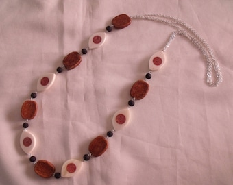 CLEARANCE silver Brown necklace black and white