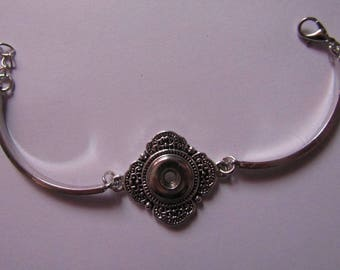 silver bracelet for 12mm diameter snap