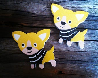 set of 2 buttons in yellow/dogs Chihuahuas 29 x 27 mm